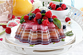 Summer dessert made of layered colorful jelly