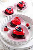 Heart-shaped dessert with fruit