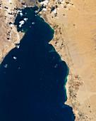 Traffic jam on the Suez canal, satellite image