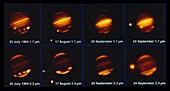 Comet Shoemaker-Levy 9 impacting Jupiter, 1994
