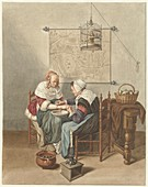 The bloodletting, 18th century painting