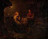 The sick child, 19th century painting