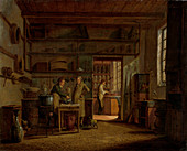 Interior of the lab of an apothecary, 19th century painting