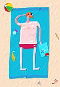 Man sunbathing, illustration