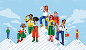 Workers climbing paper mountains, illustration