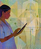 Doctor working on a digital tablet, illustration