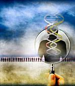 DNA screening, conceptual illustration