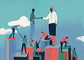 People helping each other, conceptual illustration