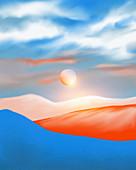 Sun above scenic landscape, illustration