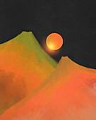Sun above volcanoes, illustration