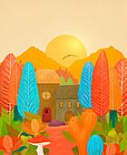 Cottage in a garden, illustration