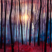 Red feathers falling in a forest, illustration