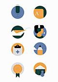 Business communication symbols, illustration