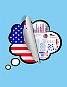 Revealing survey results of USA population, illustration