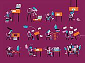 Children in bad classroom environment, illustration