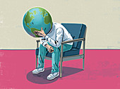 Man worrying about Earth, illustration