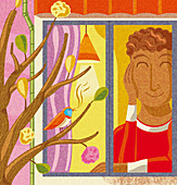 Happy man listening to birdsong outside window, illustration