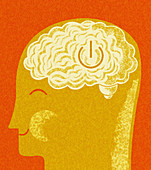 Happy person with on button in brain, illustration