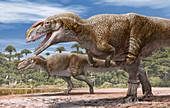 Mapusaurus dinosaurs, illustration
