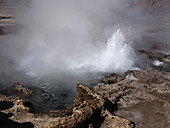 Water being ejected from a geyser, El Tatio, Chile