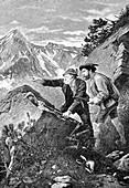 Men hunting chamois, 19th century illustration