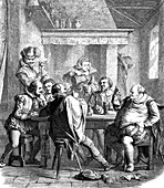 Shakespeare and friends drinking, 19th century illustration