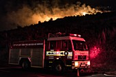 Fire engine at a fire disaster scene