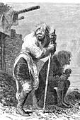 Inuit men, Lapland, Sweden, 19th century illustration