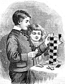 Children building a tower using dominoes, illustration