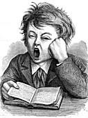 Boy yawning whilst reading, 19th century illustration
