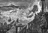 Lifeboat brought into sea, 19th century illustration