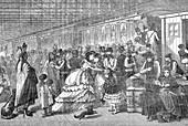 Train station in New York, USA, 19th century illustration