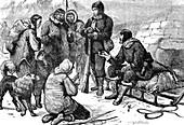 Inuit people outside explorer's igloo, illustration
