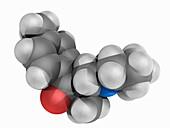 Tolperisone drug, molecular model