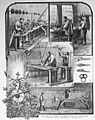 Rifle factory scenes, Germany, 19th century illustration