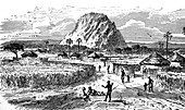 Marghi village at Lake Chad, Central Africa, illustration