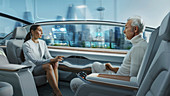 Man and woman talking in a driverless car