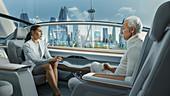Woman and man talking in an autonomous car