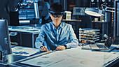 Engineer using an AR headset