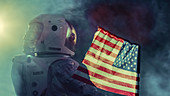 Astronaut walking with a US flag