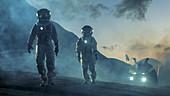 Two astronauts walking on an alien planet