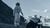 Astronaut exploring an alien planet