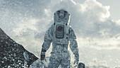 Astronaut walking through a blizzard on an alien planet