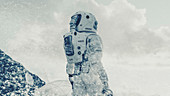 Astronaut in a snow storm on an alien planet