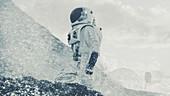Astronaut exploring an alien planet's surface
