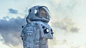 Astronaut looking around a frozen alien planet