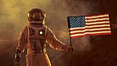 Astronaut planting a US flag on alien planet