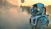 Astronaut walking toward a research base on alien planet