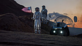 Two astronauts planting US flag on an alien planet
