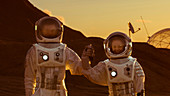 Two astronauts holding hands on alien planet